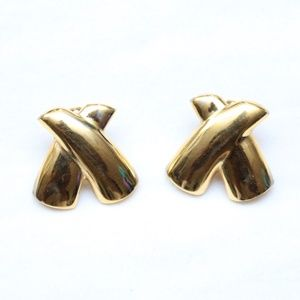 """Jewelry - 80's Vintage """"RIGHT ON"""" Fancy Gold Dangle Earrings"""